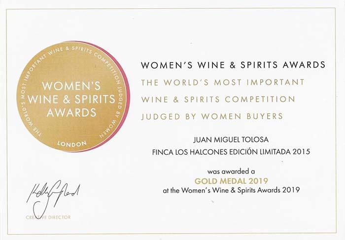 Medalla de oro en los premios Women's Wine & Spirits Awards 2019
