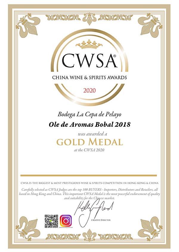 2 medallas para La Cepa de Pelayo en China Wine Spirit Awards 2020