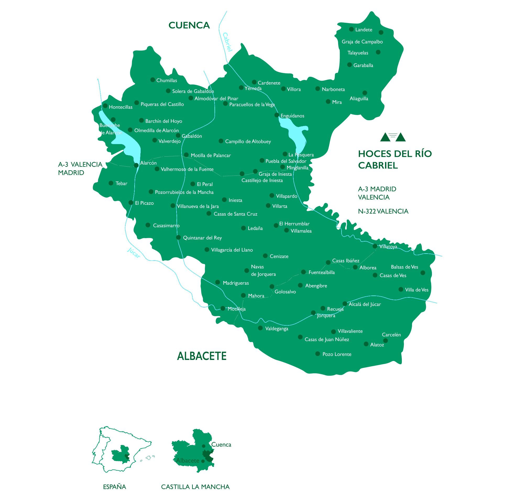 Ubicación de los viñedos de la DO Manchuela – Mapa de la manchuela detallando los rios Jucar y Gabriel